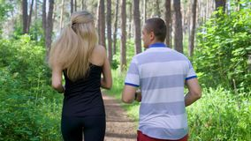 Running in the park. Male and female runners. Sport and healthy lifestyle. Summer time. Back view stock footage