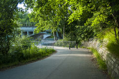 Running path in the green forest. Nature just outside the city under the bridge good to spend a day relaxing and jogging Royalty Free Stock Photos