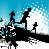 Running people. Motion life grunge background vector Stock Photography