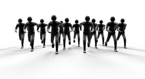 Running people. People group running forward from light with shadow 3d Stock Image