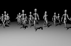 Running people. 3D running people Stock Images