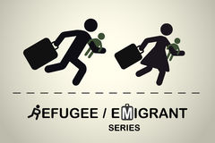 Running people with children and suitcases. Emigrant / refugee series. Stock Photos
