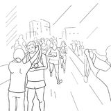 Running people during a city marathon. Hand drawn sketch vector illustration.Finish of marathon. Running people during a city marathon. Hand drawn sketch vector Stock Images