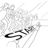 Running people during a city marathon. Hand drawn sketch vector illustration. Line style Royalty Free Stock Image