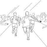 Running people during a city marathon. Hand drawn sketch vector illustration. Line style Stock Image