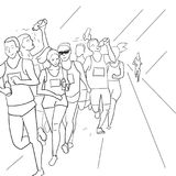 Running people during a city marathon. Hand drawn sketch vector illustration. Line style Stock Photo