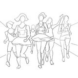 Running people during a city marathon. Hand drawn sketch vector illustration. Line style Royalty Free Stock Images