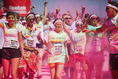 Running people at a color run in Cologne Stock Image