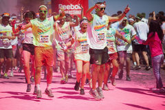 Running people at a color run in Cologne Royalty Free Stock Image