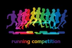 Running people. Running competition. Crowd of people is running in the city marathon stock illustration