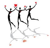Running people with hearts Royalty Free Stock Images