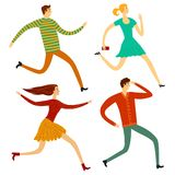 Running people illustration set Stock Photography