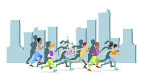 Free Running People In City Vector Illustration. World Health Day Poster Design. Save Health Concept. People Jogging, Run Royalty Free Stock Images - 164054039