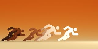 Running people with leader vector illustration