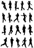 Running people set. Set of running people silhouettes Stock Images