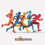 Running people set of silhouettes Royalty Free Stock Images