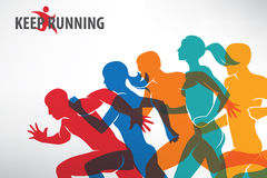 Running people set of silhouettes Royalty Free Stock Photography