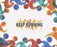 Running people set of stylized icons background Stock Image