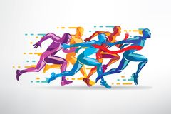 Running people set of stylized silhouettes Stock Images
