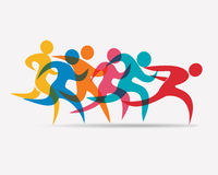 Running people set of symbols. Competition and finish Stock Image