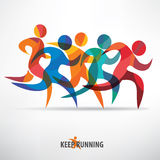 Running people set of symbols Stock Images