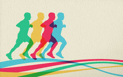 Running people silhouette concept background Stock Image