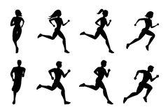 Running people silhouettes royalty free illustration