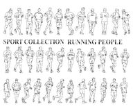 Running people silhouettes. Sport Royalty Free Stock Image