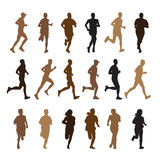 Running people silhouettes Royalty Free Stock Image