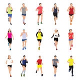 Running people silhouettes Royalty Free Stock Photos