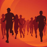 Running people silhouettes Stock Images
