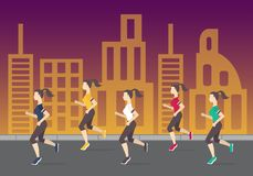 Running people silhouettes. Women running on the. Women running on the city street. Evening jogging. Vector illustration Royalty Free Stock Photography