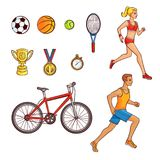 Hand-drawn set of running people and sport items. Running people and sport item set - football, basketball, tennis balls, racket, cup, medal, stopwatch and Stock Image