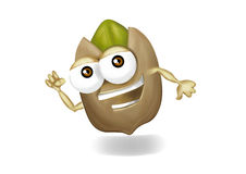 Running pistachio cartoon character with two arms. Happy, running beige pistachio cartoon character, laughing, cute and funny cashew character with a big smile Royalty Free Stock Photography