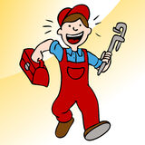 Running Plumber With Wrench and Toolbox Stock Photography
