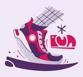 Running poster. Cartoon vector illustration. Flat style. Run club. Runner foot. Fast running sneakers. Sport activity. Healthy life concept stock illustration