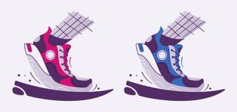 Running poster. Cartoon vector illustration. Flat style. Run club. Runner foot. Fast running sneakers. Sport activity. Healthy life concept royalty free illustration