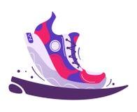 Running poster. Cartoon vector illustration. Flat style. Run club. Runner foot. Fast running sneakers. Sport activity. Healthy life concept vector illustration