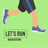 Running poster with human lags. And their shoes for marathon Royalty Free Stock Photo