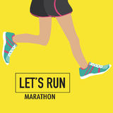 Running poster with human lags. And their shoes for marathon Royalty Free Stock Image