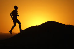 Running poster. Illustration of a ruuner and sunset Royalty Free Stock Photos