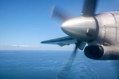 Running propeller and aerial view Stock Photo