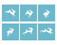 Running rabbit animation sprite. Vector illustration of cartoon running rabbit animation sprite Stock Photography