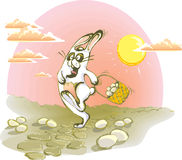 Running rabbit with eggs Stock Image