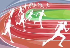Running Race on Track. Illustration background of runners sprinting in a race around the track Royalty Free Stock Image