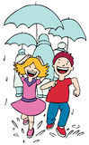 Running in the Rain. Two children have fun running in the rain Royalty Free Stock Images