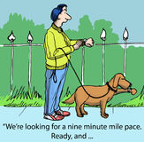 Running. We're looking for a nine minute mile pace. Ready and Royalty Free Stock Photos
