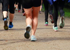 Running rearguard of legs at a long distance race Stock Images
