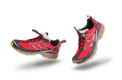Running red sport shoes. Isolated on white royalty free stock photo
