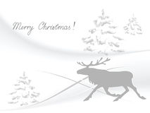 Running reindeer. Illustration of the running reindeer against the winter background Stock Photo